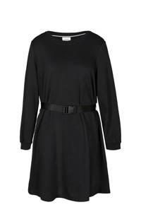 Zizzi jurk met plooien zwart, Zwart