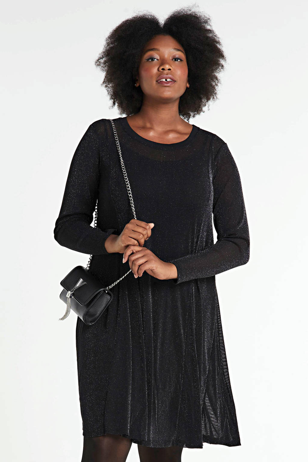 Zizzi jurk met glitters zwart, Zwart