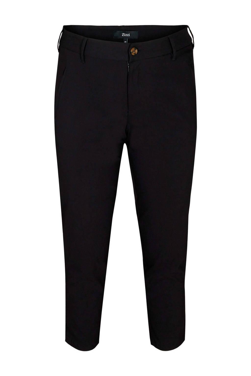 Zizzi cropped skinny broek Bella zwart, Zwart