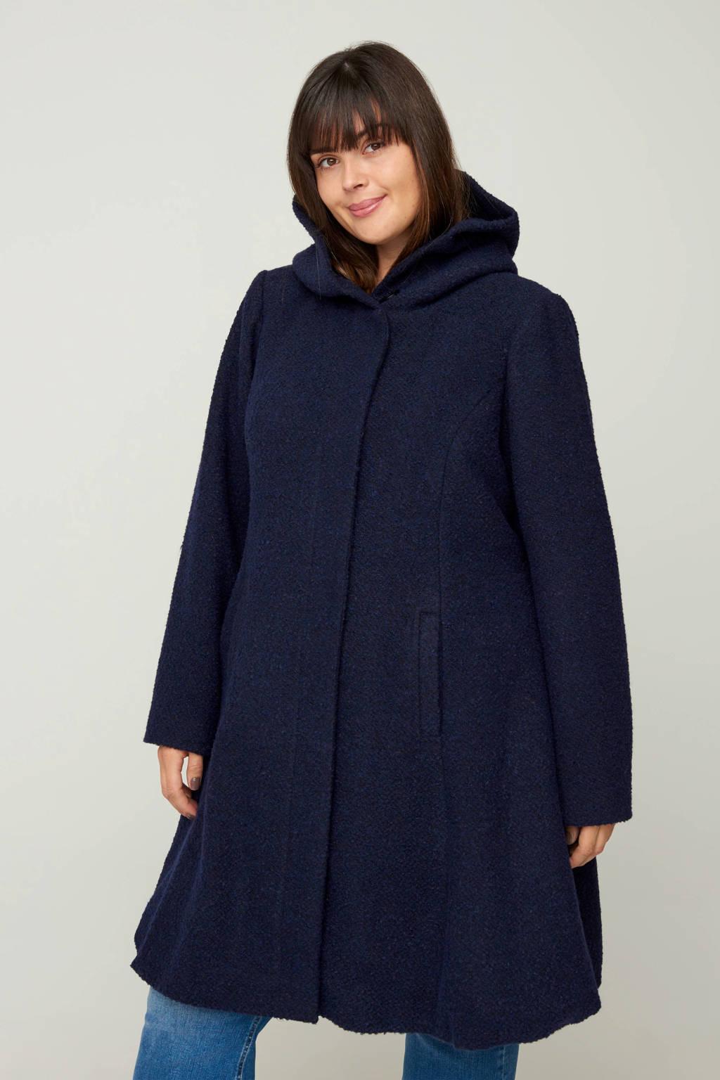Zizzi gemêleerde coat tussen donkerblauw, Donkerblauw