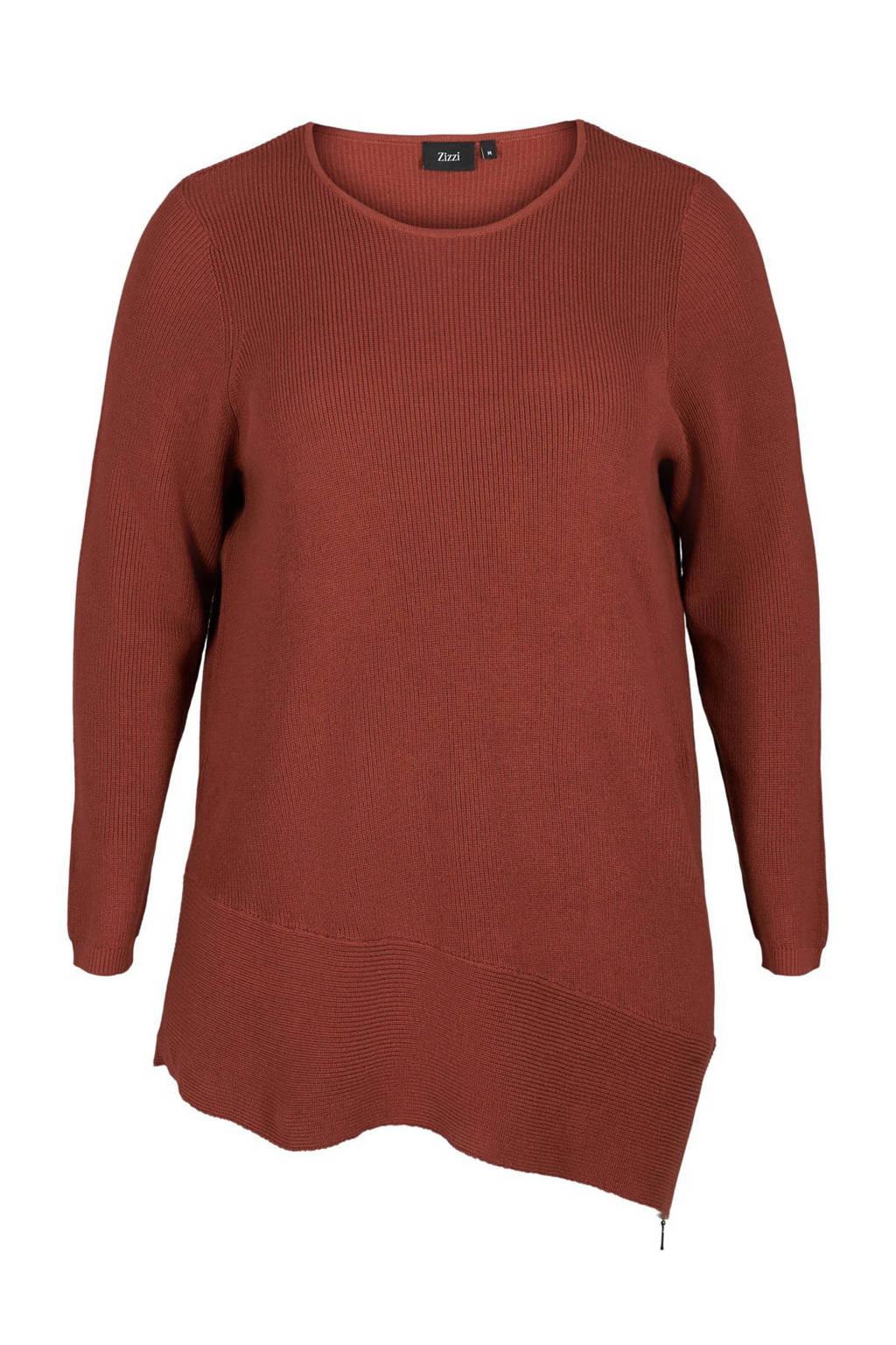 Zizzi gebreide trui Joanne roodbruin, Roodbruin