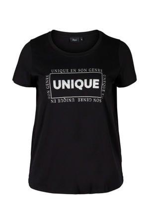 T-shirt Gubby met tekst en glitters donkergroen/zwart
