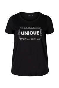 Zizzi T-shirt Gubby met tekst en glitters zwart/wit/zilver, Zwart/wit/zilver