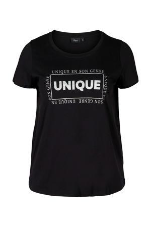 T-shirt Gubby met tekst en glitters zwart/wit/zilver