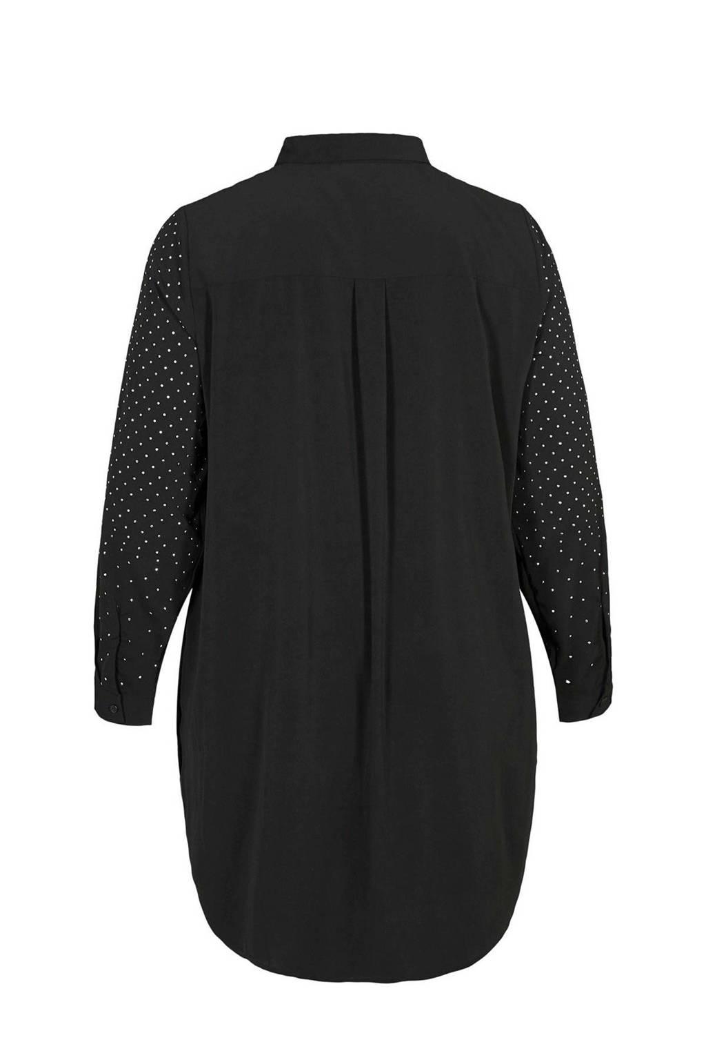 Zizzi blouse met stippen zwart, Zwart