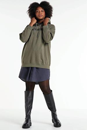 hoodie Gun met tekst kaki/zwart