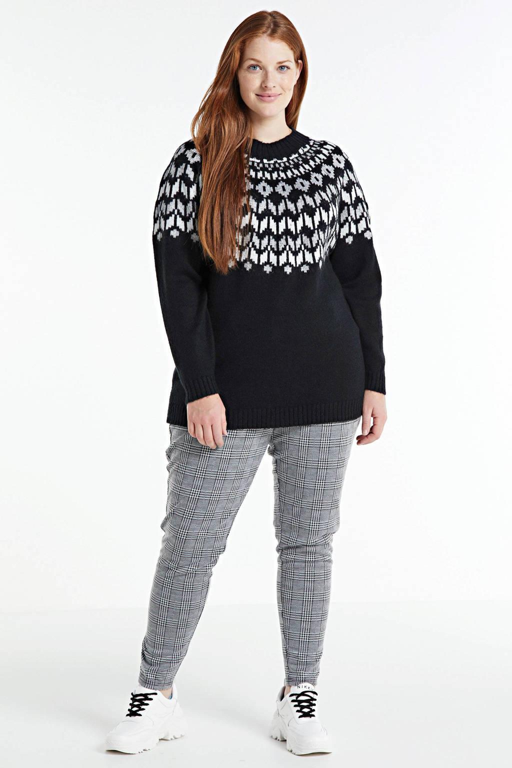 Zizzi gebreide trui Simone met printopdruk zwart/wit/grijs, Zwart/wit/grijs