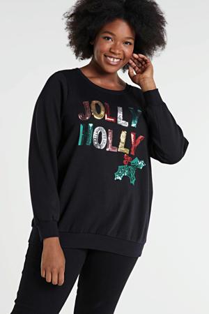 sweater Avjul met printopdruk en pailletten antraciet/multi