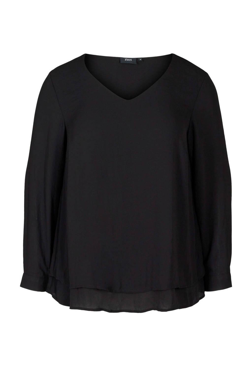 Zizzi semi-transparante blouse met ruches zwart, Zwart