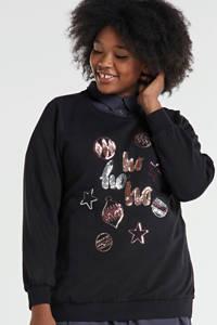 Zizzi sweater Avjul met printopdruk en pailletten zwart/multi, Zwart/multi