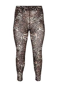 Zizzi legging met panterprint bruin, Bruin/Panterprint