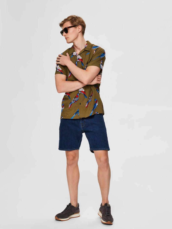 SELECTED HOMME slim fit overhemd met all over print olijfgroen, Olijfgroen