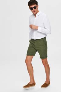 SELECTED HOMME gemêleerde regular fit bermuda met linnen donkerblauw, Donkerblauw