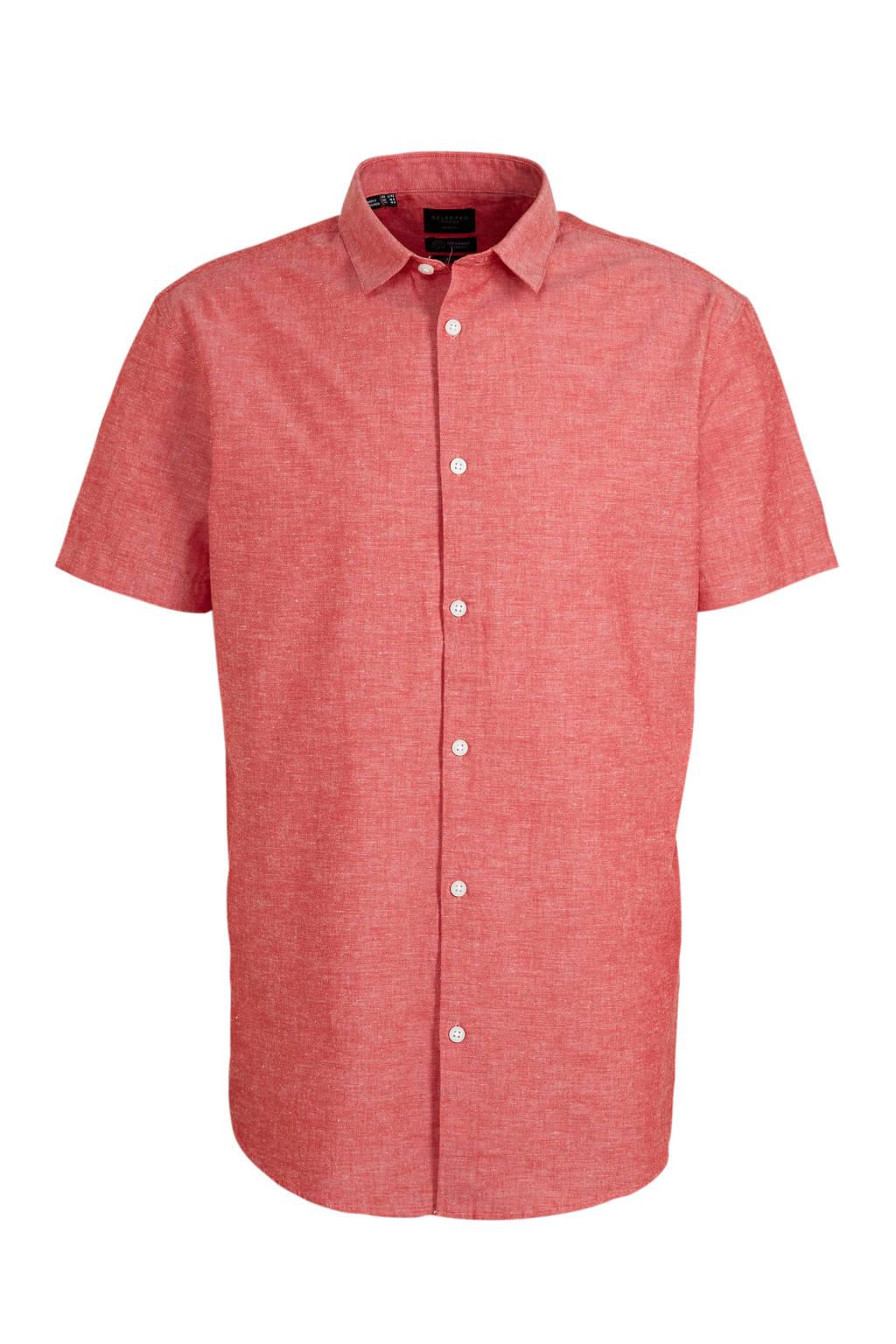 SELECTED HOMME gemêleerd regular fit overhemd met biologisch katoen rood, Rood