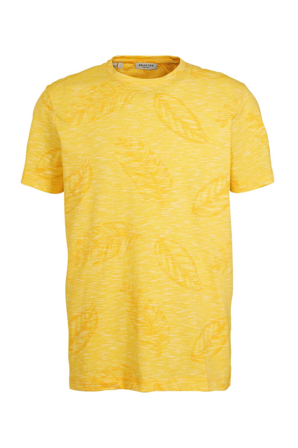 SELECTED HOMME T-shirt met all over print geel, Geel