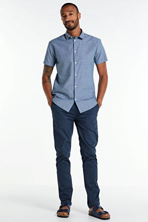 gemêleerd regular fit overhemd met biologisch katoen grijsblauw