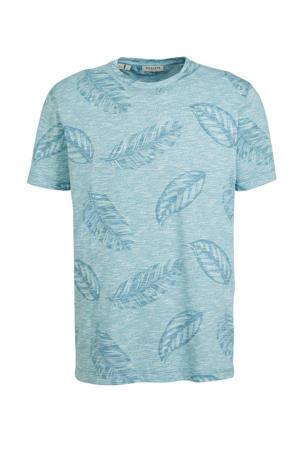 T-shirt met all over print lichtblauw