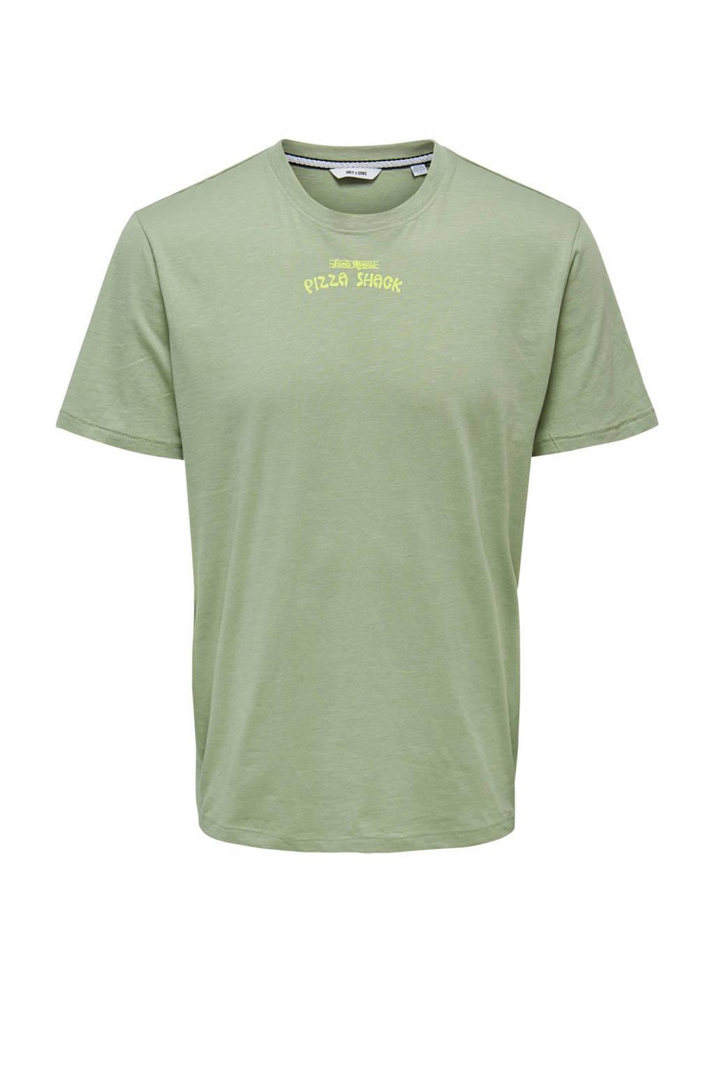 ONLY & SONS T-shirt met printopdruk groen, Groen
