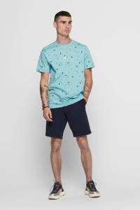 ONLY & SONS T-shirt met all over print turquoise, Turquoise