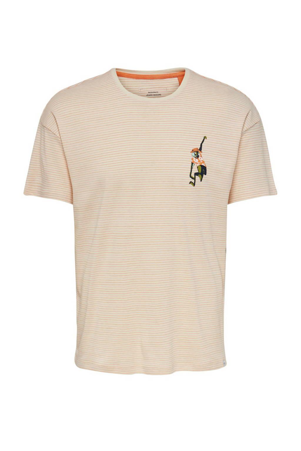 ONLY & SONS gestreept T-shirt van biologisch katoen ecru/oranje, Ecru/oranje