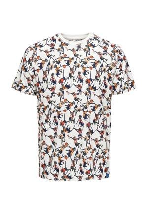 T-shirt van biologisch katoen ecru/brique