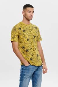 ONLY & SONS T-shirt met all over print geel/zwart, Geel/zwart