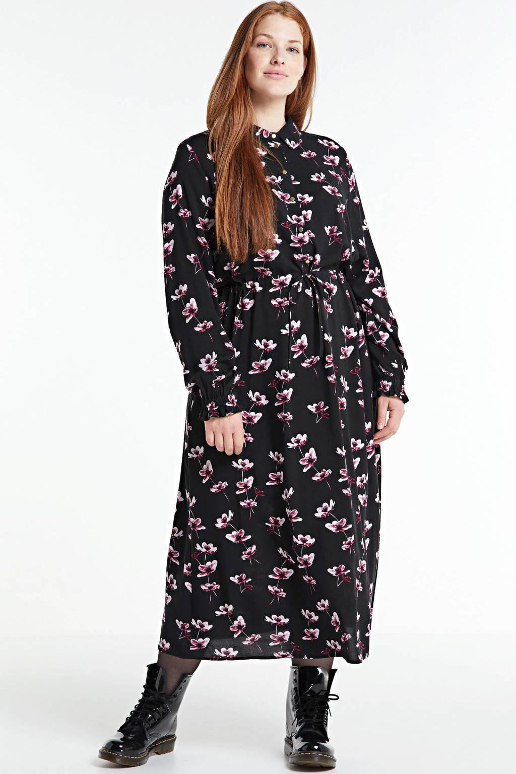 Zizzi gebloemde jurk Jasmine zwart/multi, Zwart/multi