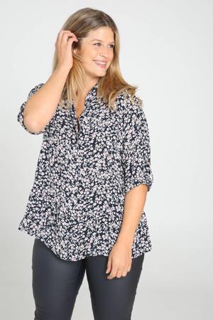 gebloemde blouse marine/wit/roze