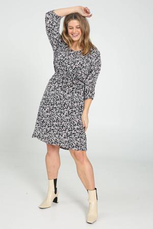 gebloemde jurk donkerblauw/wit/roze