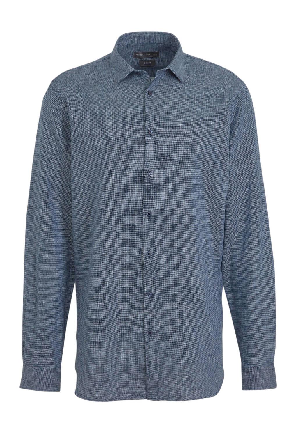 C&A Angelo Litrico linnen slim fit overhemd donkerblauw, Donkerblauw