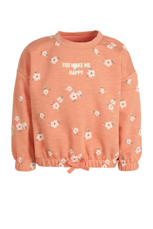 sweater met all over print zalm