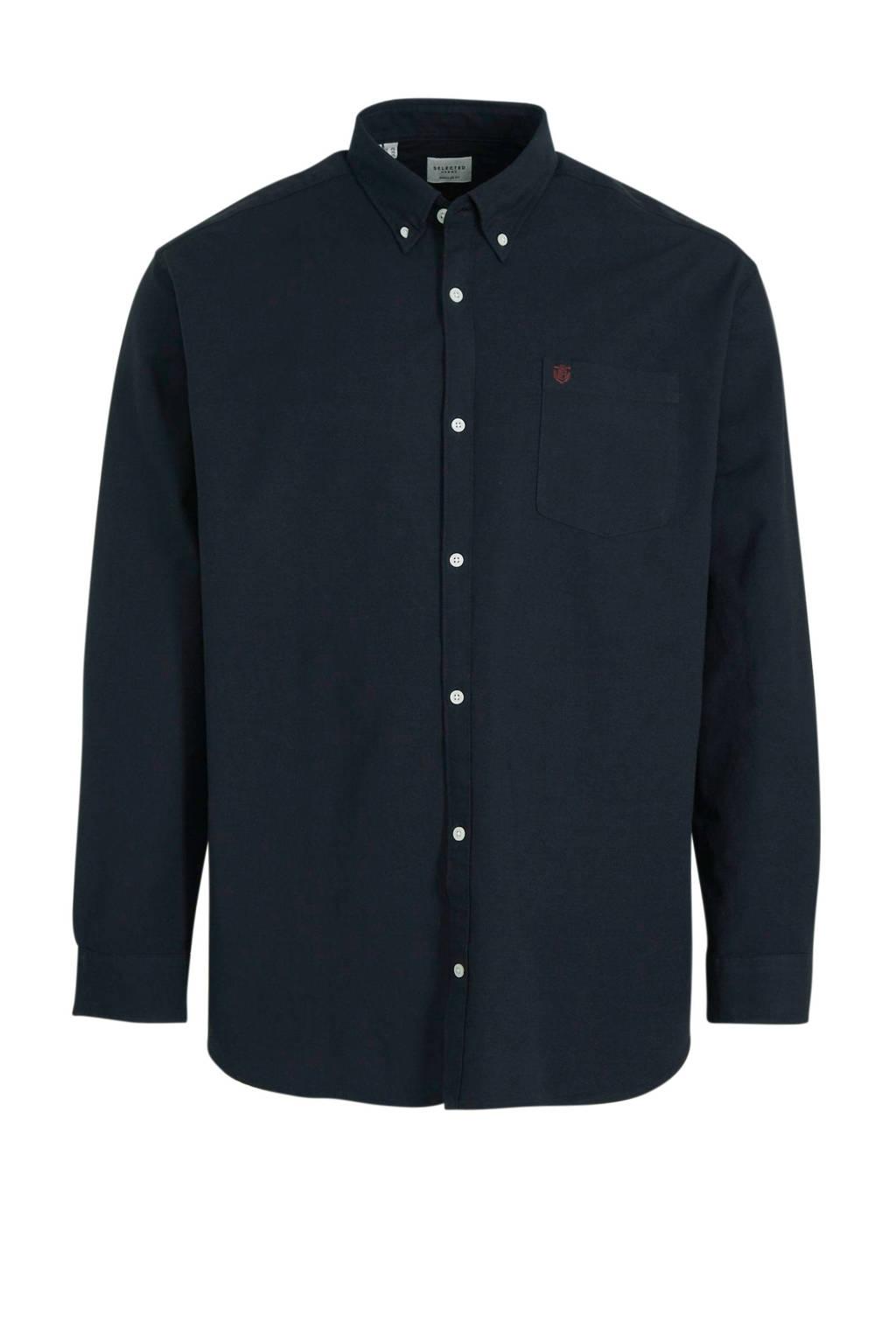 Selected Homme +Fit regular fit overhemd zwart, Zwart