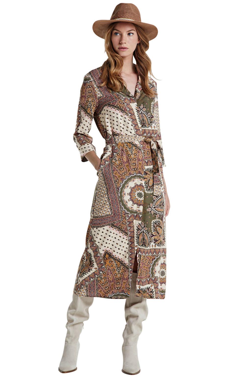 OBJECT blousejurk met all over print en ceintuur olijfgroen/zand, Olijfgroen/zand