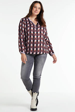 blouse met all over print donkerrood/zwart