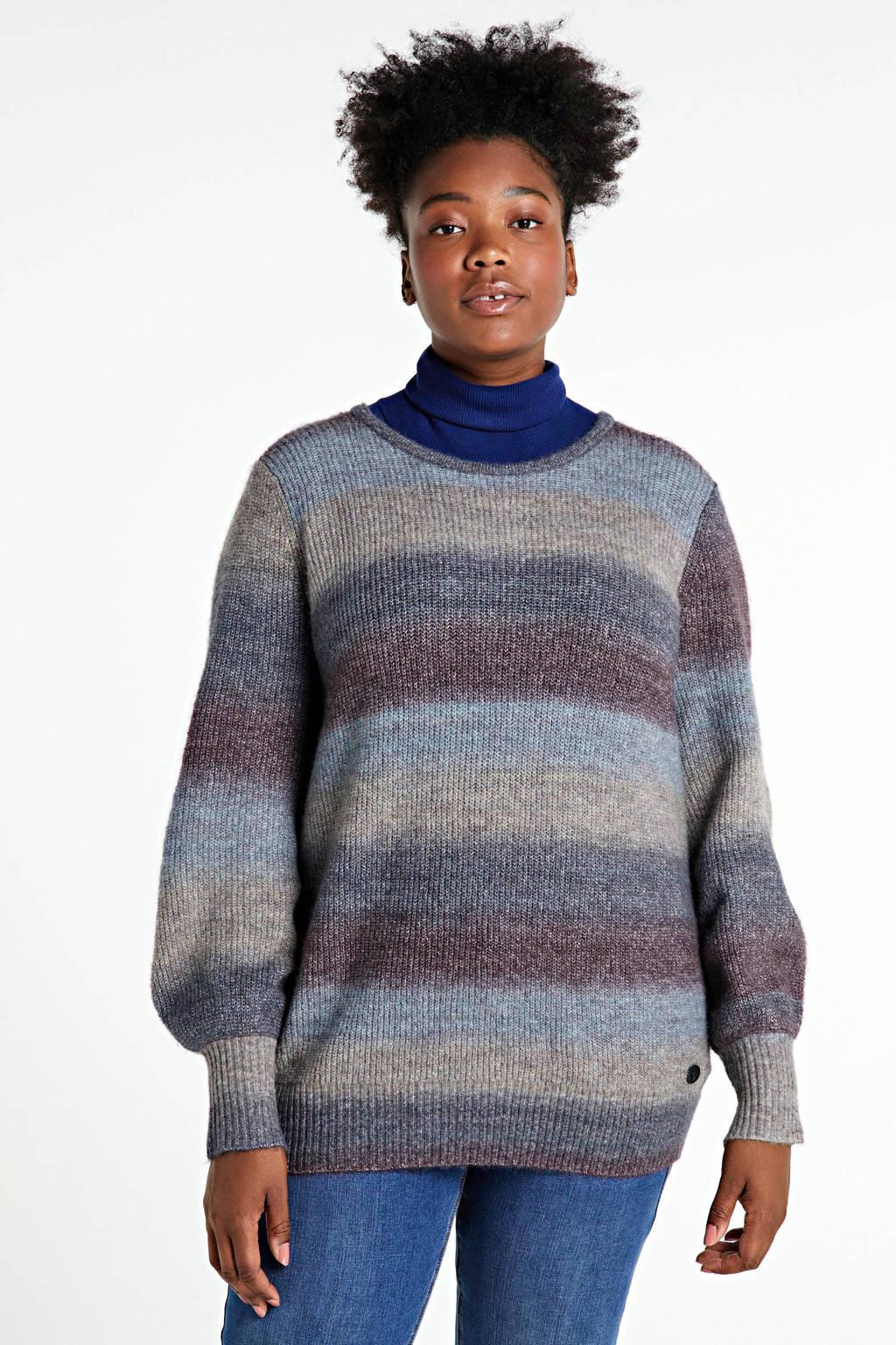 Adia gestreepte gebreide trui grijs/lichtblauw/donkerrood, Grijs/lichtblauw/donkerrood