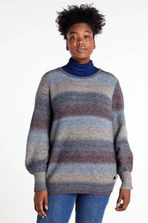 gestreepte gebreide trui grijs/lichtblauw/donkerrood