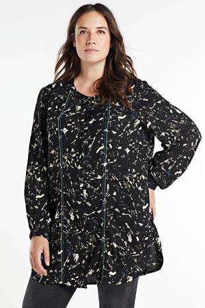 blouse met all over print zwart/lichtgeel/blauw