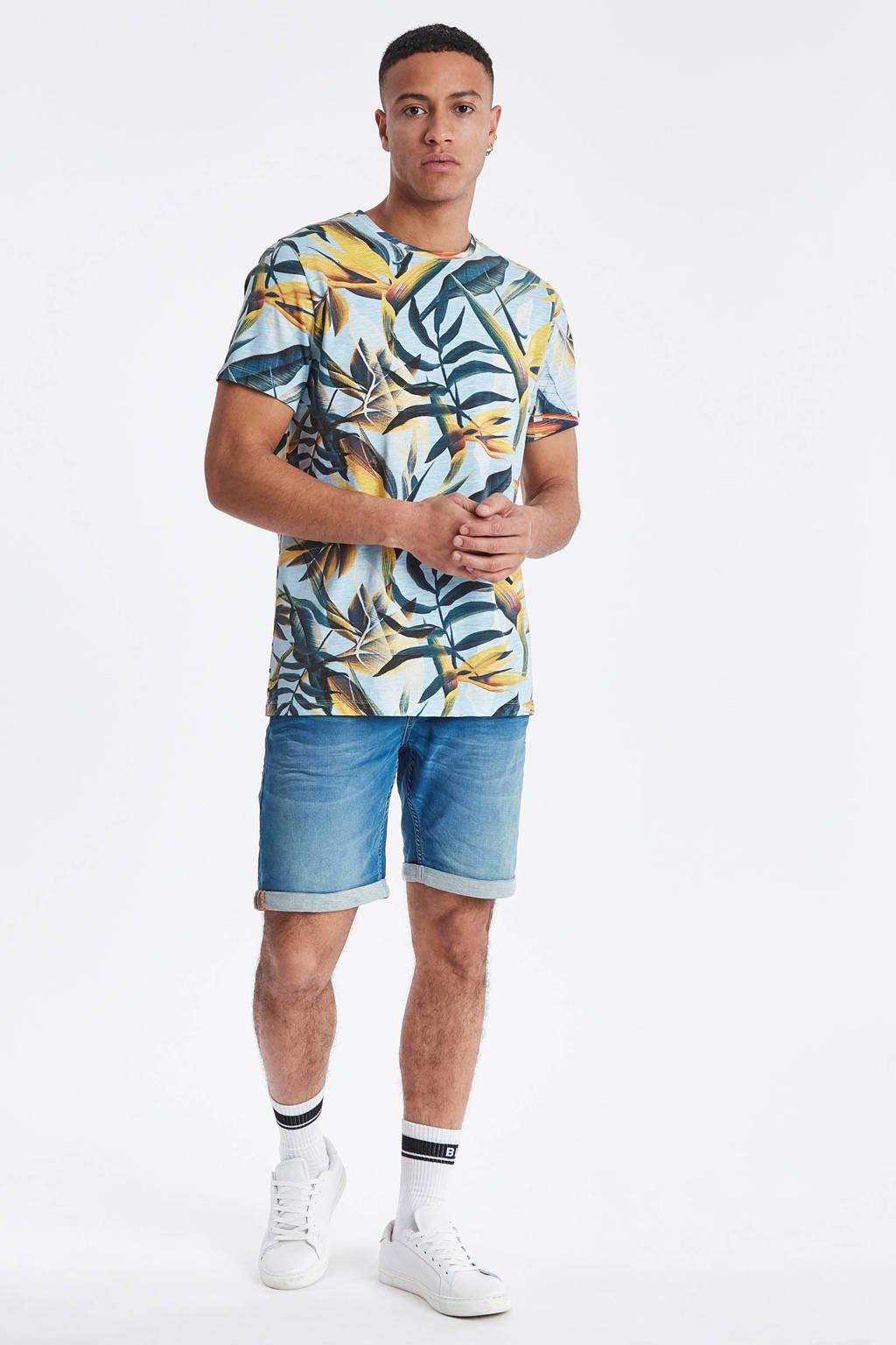 Blend T-shirt met all over print geel/lichtblauw, Geel/lichtblauw