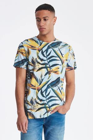 T-shirt met all over print geel/lichtblauw