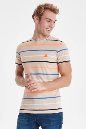 gestreept T-shirt beige/oranje