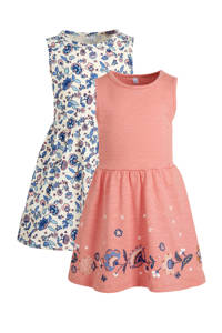 C&A Palomino jurk - set van 2 oudroze/ecru/blauw, Oudroze/ecru/blauw