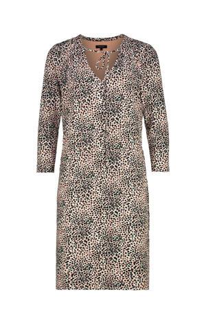 jersey jurk met all over print beige/mint