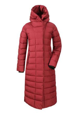 lange gewatteerde jas Stella rood