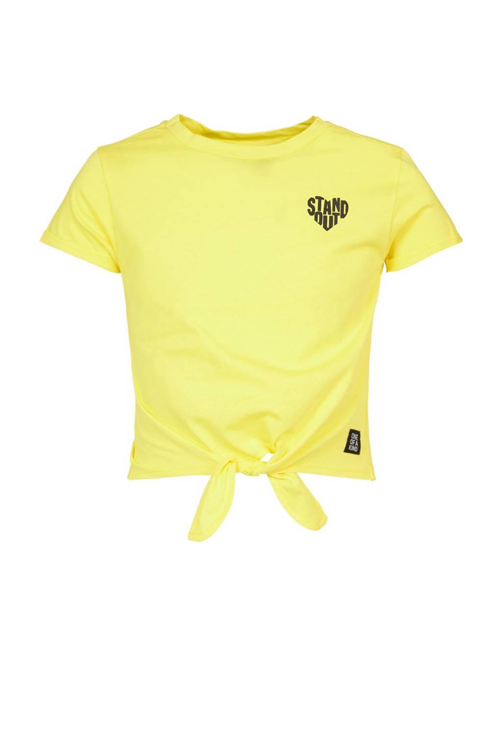 CoolCat Junior cropped T-shirt met knoopdetail geel, Geel