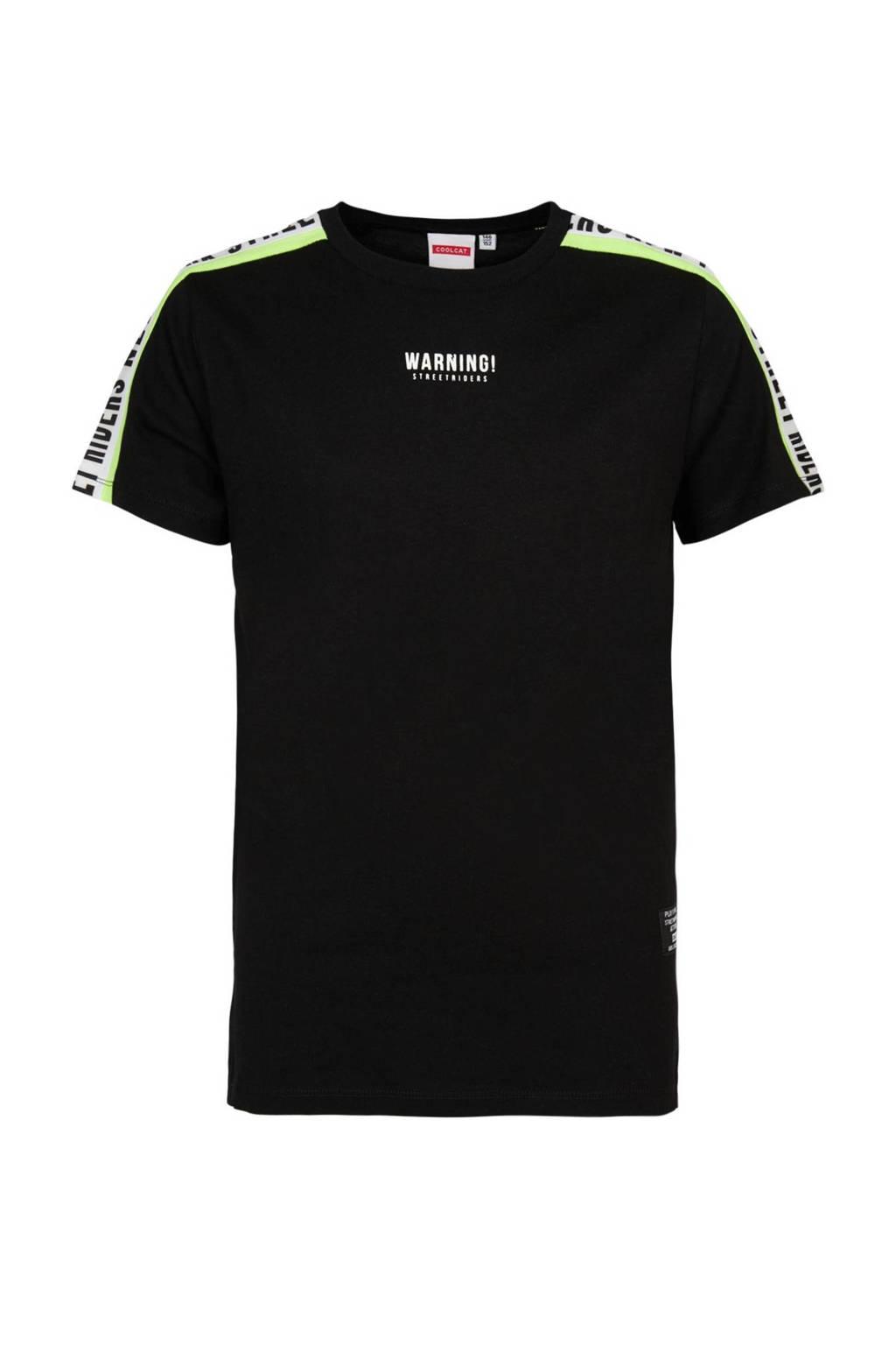 CoolCat Junior T-shirt Ezra met contrastbies en contrastbies zwart/wit, Zwart/wit