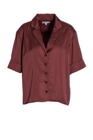 satijnen blouse Hayli met plooien donkerrood