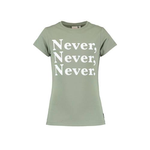 CoolCat Junior T-shirt Elsa met tekst lichtgroen/w