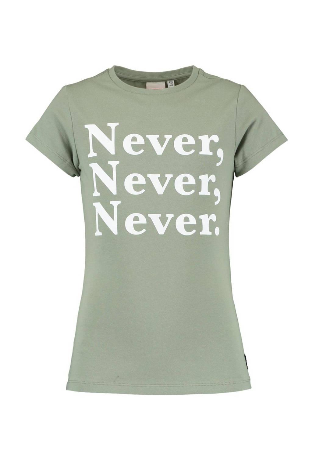 CoolCat Junior T-shirt Elsa met tekst lichtgroen/wit, Lichtgroen/wit