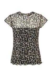 CoolCat Junior semi-transparant T-shirt Ellen met panterprint lichtbruin, Lichtbruin