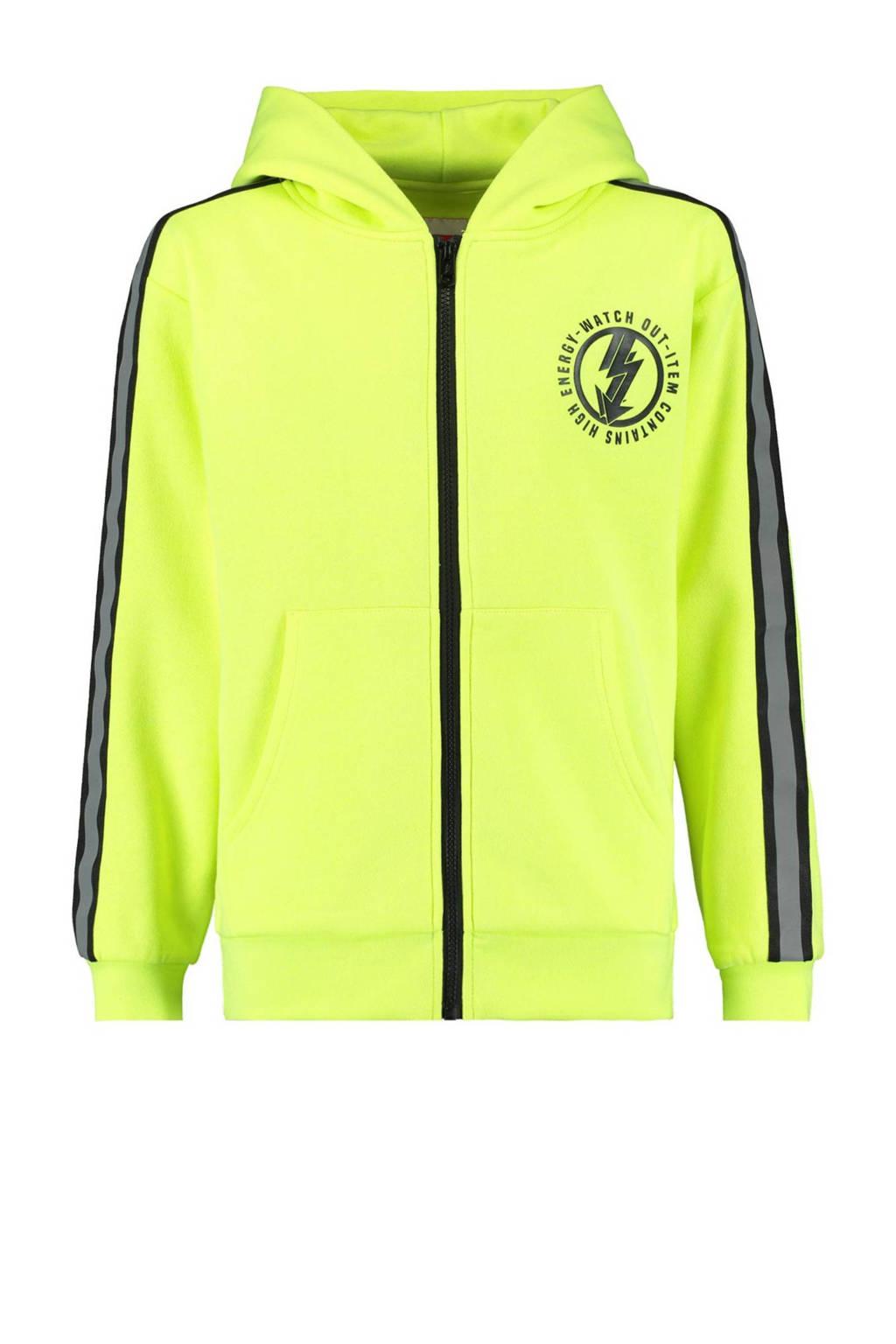 CoolCat Junior vest Sjoerd met contrastbies en contrastbies neon geel/zwart, Neon geel/zwart